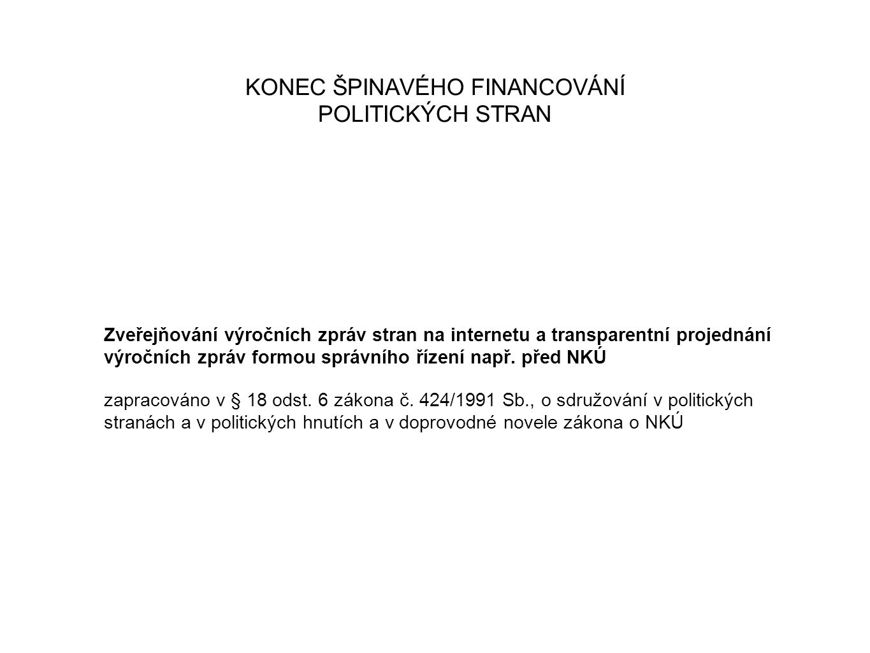 KONEC ŠPINAVÉHO FINANCOVÁNÍ POLITICKÝCH STRAN Zveřejňování výročních zpráv stran na internetu a transparentní projednání výročních zpráv formou správního řízení např.