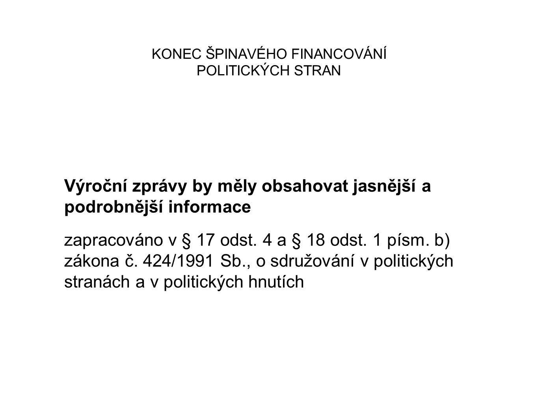 KONEC ŠPINAVÉHO FINANCOVÁNÍ POLITICKÝCH STRAN Výroční zprávy by měly obsahovat jasnější a podrobnější informace zapracováno v § 17 odst. 4 a § 18 odst