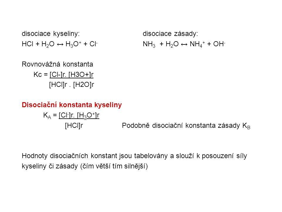 disociace kyseliny: disociace zásady: HCl + H 2 O ↔ H 3 O + + Cl - NH 3 + H 2 O ↔ NH 4 + + OH - Rovnovážná konstanta Kc = [Cl-]r.