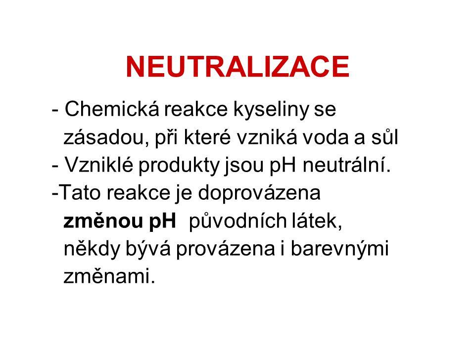 NEUTRALIZACE - Chemická reakce kyseliny se zásadou, při které vzniká voda a sůl - Vzniklé produkty jsou pH neutrální.