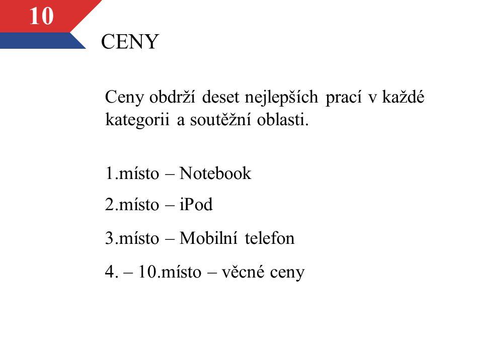 10 CENY Ceny obdrží deset nejlepších prací v každé kategorii a soutěžní oblasti.