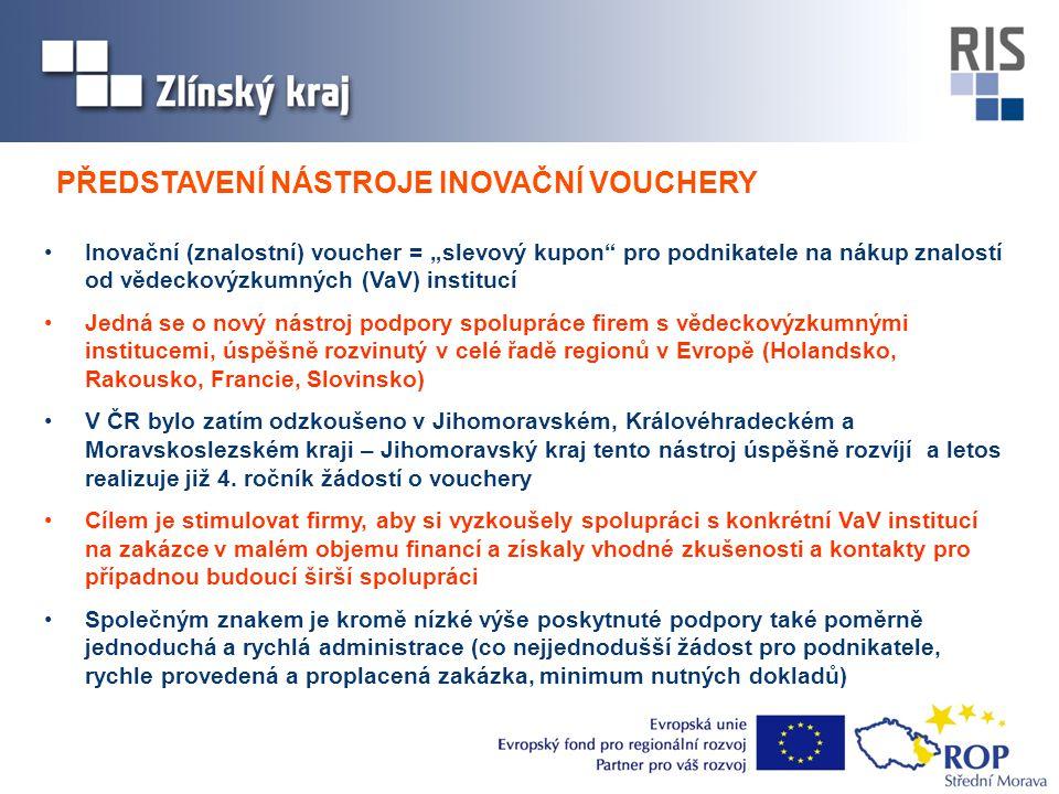 """•Inovační (znalostní) voucher = """"slevový kupon pro podnikatele na nákup znalostí od vědeckovýzkumných (VaV) institucí •Jedná se o nový nástroj podpory spolupráce firem s vědeckovýzkumnými institucemi, úspěšně rozvinutý v celé řadě regionů v Evropě (Holandsko, Rakousko, Francie, Slovinsko) •V ČR bylo zatím odzkoušeno v Jihomoravském, Královéhradeckém a Moravskoslezském kraji – Jihomoravský kraj tento nástroj úspěšně rozvíjí a letos realizuje již 4."""