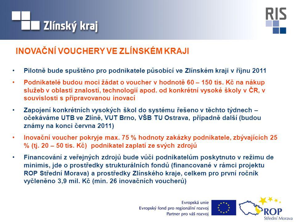 •Pilotně bude spuštěno pro podnikatele působící ve Zlínském kraji v říjnu 2011 •Podnikatelé budou moci žádat o voucher v hodnotě 60 – 150 tis. Kč na n