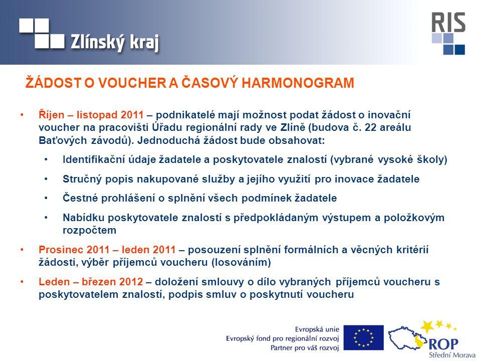 •Říjen – listopad 2011 – podnikatelé mají možnost podat žádost o inovační voucher na pracovišti Úřadu regionální rady ve Zlíně (budova č. 22 areálu Ba