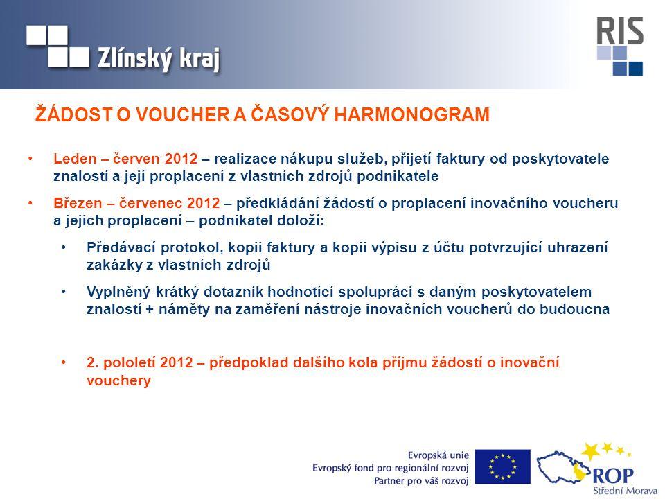 •Leden – červen 2012 – realizace nákupu služeb, přijetí faktury od poskytovatele znalostí a její proplacení z vlastních zdrojů podnikatele •Březen – č