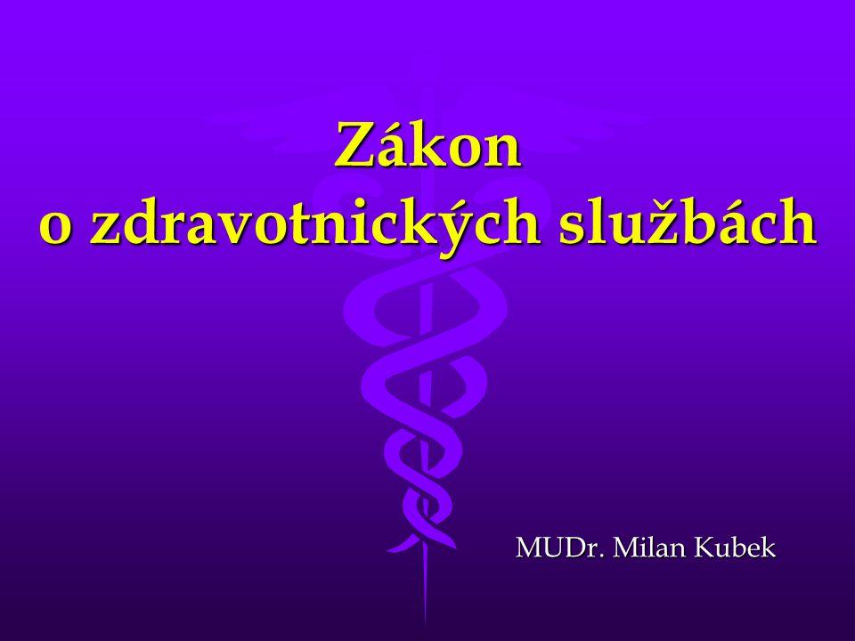 Zákon o zdravotnických službách MUDr. Milan Kubek