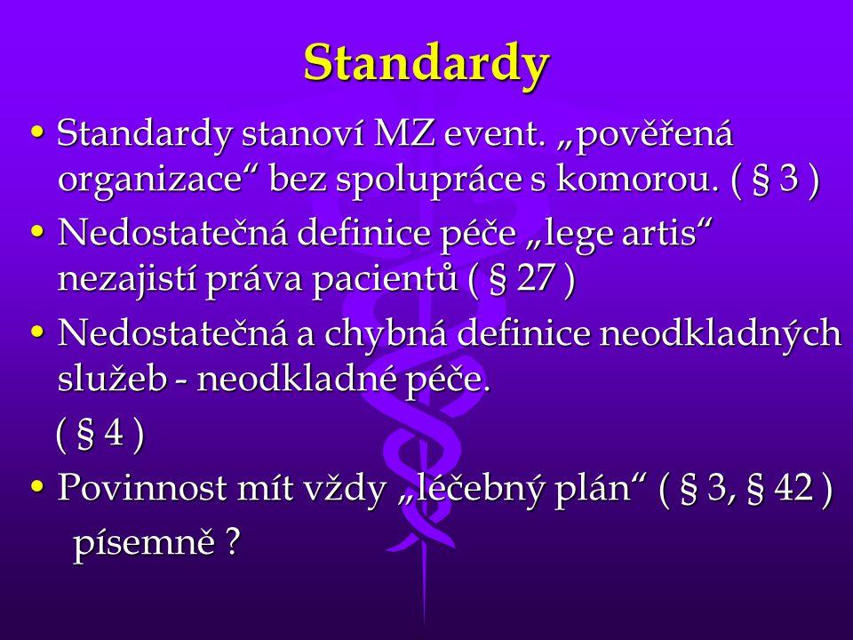"""Standardy •Standardy stanoví MZ event. """"pověřená organizace bez spolupráce s komorou."""