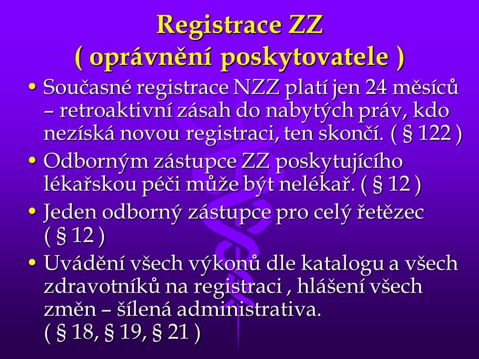 Registrace ZZ ( oprávnění poskytovatele ) •Současné registrace NZZ platí jen 24 měsíců – retroaktivní zásah do nabytých práv, kdo nezíská novou registraci, ten skončí.