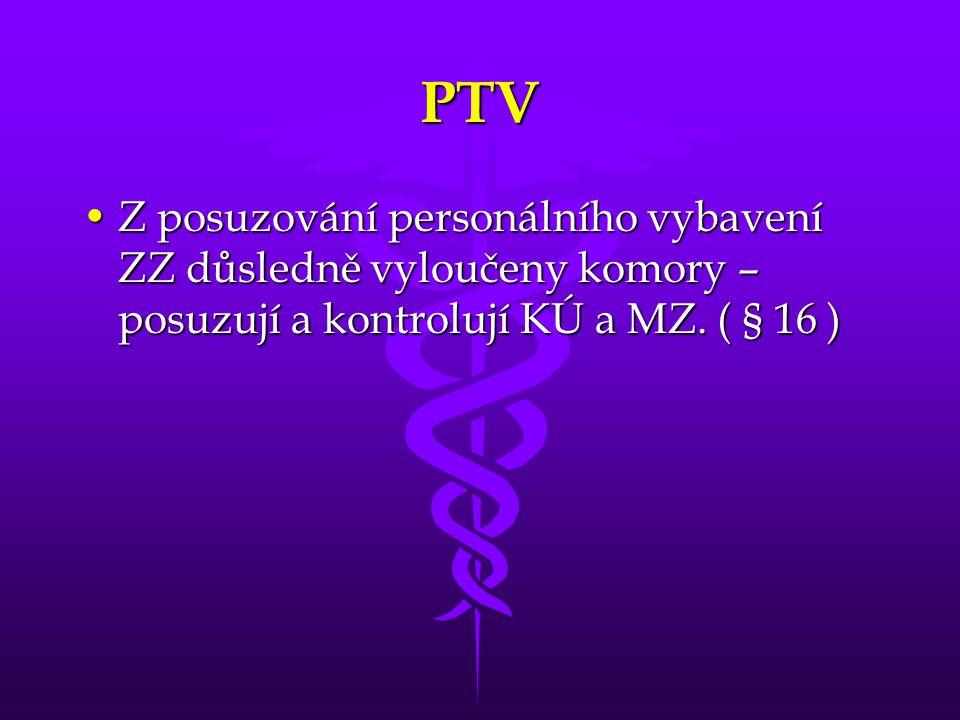 PTV •Z posuzování personálního vybavení ZZ důsledně vyloučeny komory – posuzují a kontrolují KÚ a MZ.