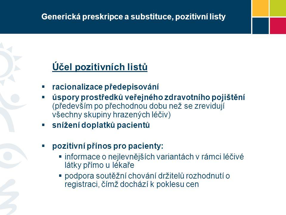 Generická preskripce a substituce, pozitivní listy Účel pozitivních listů  racionalizace předepisování  úspory prostředků veřejného zdravotního pojištění (především po přechodnou dobu než se zrevidují všechny skupiny hrazených léčiv)  snížení doplatků pacientů  pozitivní přínos pro pacienty:  informace o nejlevnějších variantách v rámci léčivé látky přímo u lékaře  podpora soutěžní chování držitelů rozhodnutí o registraci, čímž dochází k poklesu cen