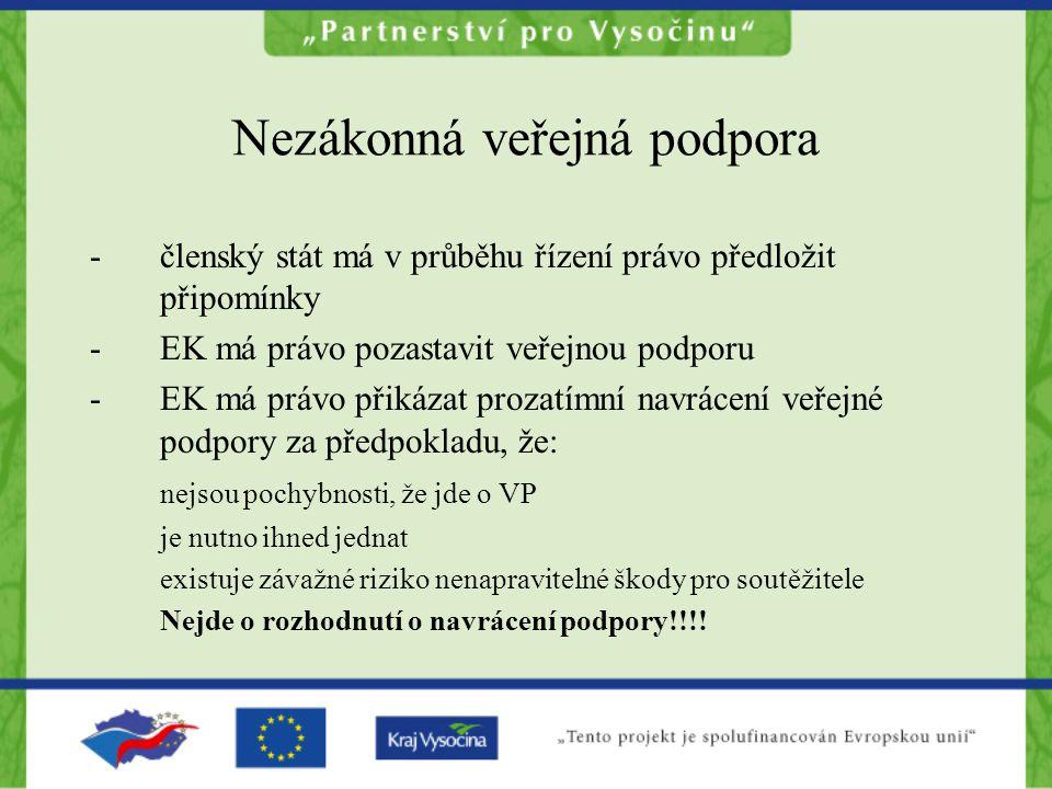 Nezákonná veřejná podpora -členský stát má v průběhu řízení právo předložit připomínky -EK má právo pozastavit veřejnou podporu -EK má právo přikázat