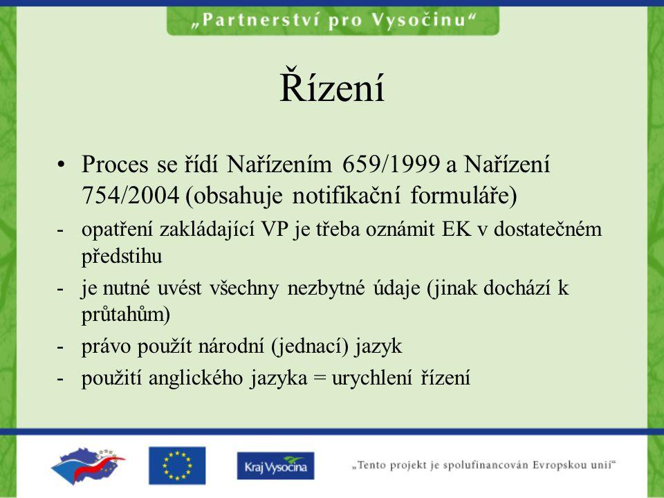 Řízení •Proces se řídí Nařízením 659/1999 a Nařízení 754/2004 (obsahuje notifikační formuláře) -opatření zakládající VP je třeba oznámit EK v dostateč