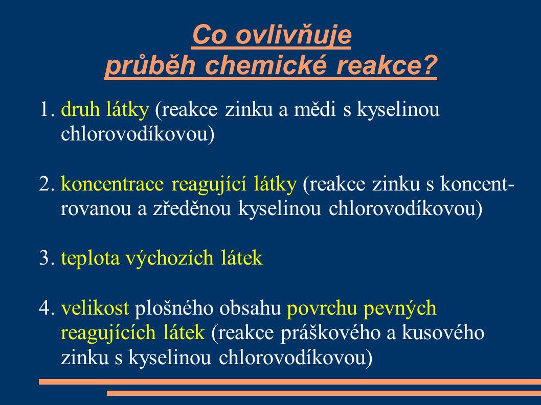 Co ovlivňuje průběh chemické reakce? 1. druh látky (reakce zinku a mědi s kyselinou chlorovodíkovou) 2. koncentrace reagující látky (reakce zinku s ko