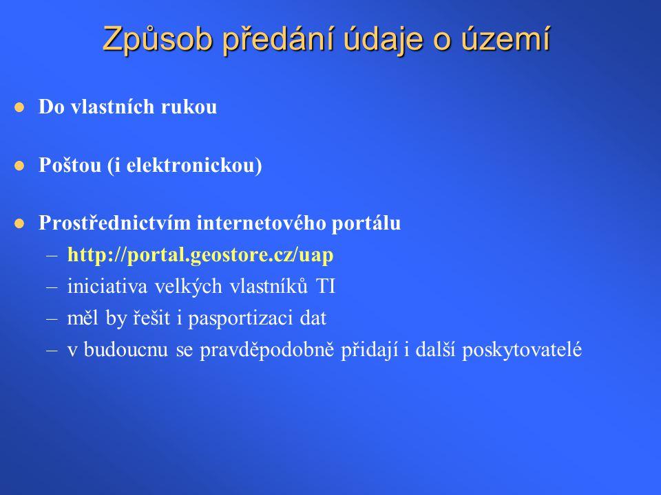 Způsob předání údaje o území  Do vlastních rukou  Poštou (i elektronickou)  Prostřednictvím internetového portálu –http://portal.geostore.cz/uap –i