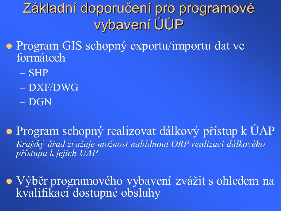 Základní doporučení pro programové vybavení ÚÚP  Program GIS schopný exportu/importu dat ve formátech –SHP –DXF/DWG –DGN  Program schopný realizovat