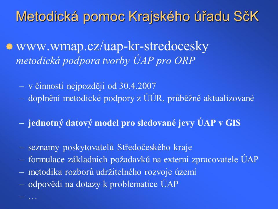 Metodická pomoc Krajského úřadu SčK  www.wmap.cz/uap-kr-stredocesky metodická podpora tvorby ÚAP pro ORP –v činnosti nejpozději od 30.4.2007 –doplněn