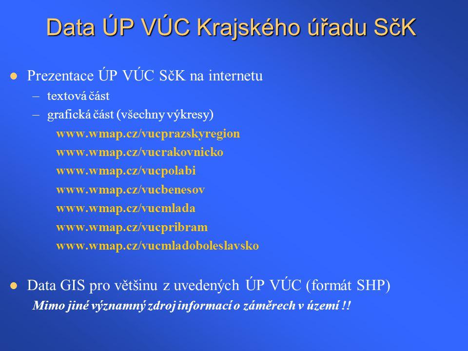 Data ÚP VÚC Krajského úřadu SčK  Prezentace ÚP VÚC SčK na internetu –textová část –grafická část (všechny výkresy) www.wmap.cz/vucprazskyregion www.w