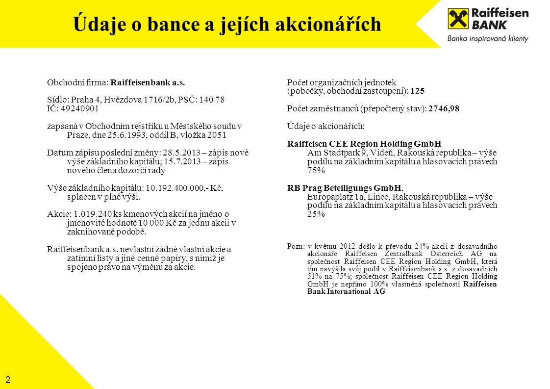 2 Obchodní firma: Raiffeisenbank a.s. Sídlo: Praha 4, Hvězdova 1716/2b, PSČ: 140 78 IČ: 49240901 zapsaná v Obchodním rejstříku u Městského soudu v Pra