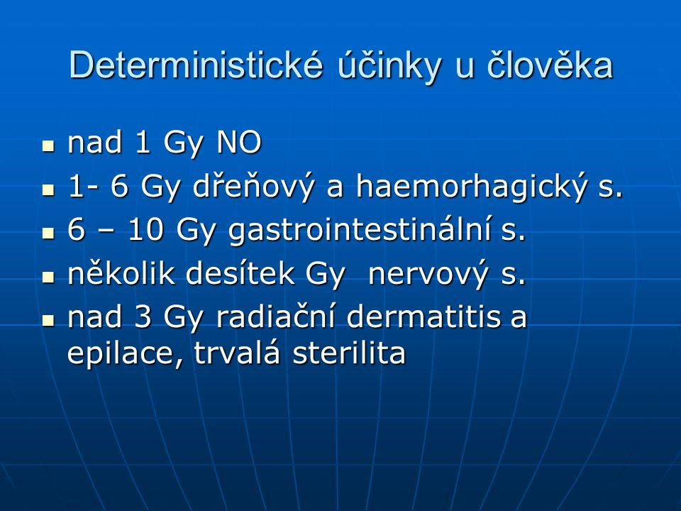 Deterministické účinky u člověka  nad 1 Gy NO  1- 6 Gy dřeňový a haemorhagický s.  6 – 10 Gy gastrointestinální s.  několik desítek Gy nervový s.