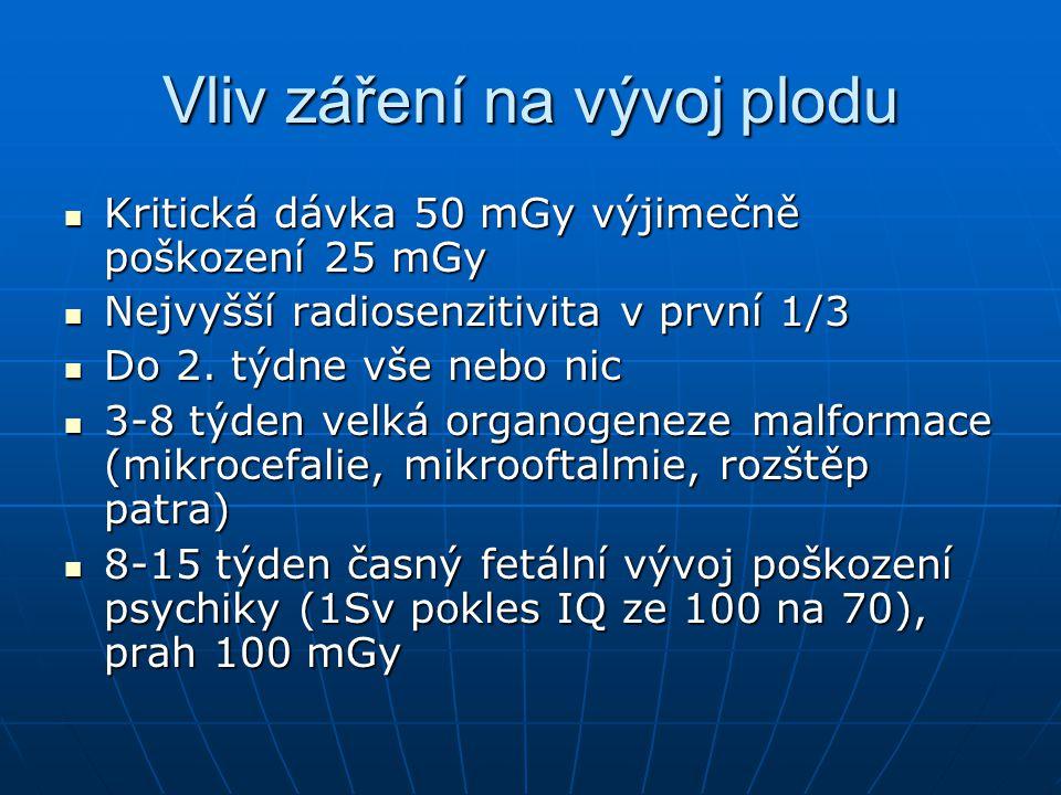 Vliv záření na vývoj plodu  Kritická dávka 50 mGy výjimečně poškození 25 mGy  Nejvyšší radiosenzitivita v první 1/3  Do 2. týdne vše nebo nic  3-8