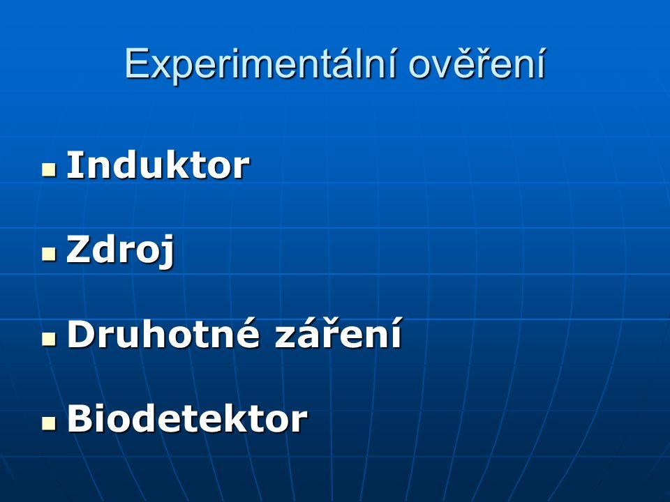 Experimentální ověření  Induktor  Zdroj  Druhotné záření  Biodetektor