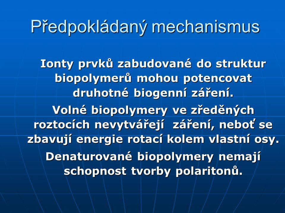 Předpokládaný mechanismus Ionty prvků zabudované do struktur biopolymerů mohou potencovat druhotné biogenní záření. Volné biopolymery ve zředěných roz