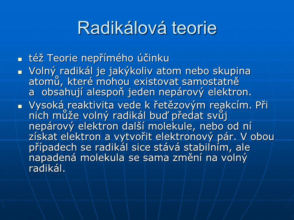 Radikálová teorie  též Teorie nepřímého účinku  Volný radikál je jakýkoliv atom nebo skupina atomů, které mohou existovat samostatně a obsahují ales