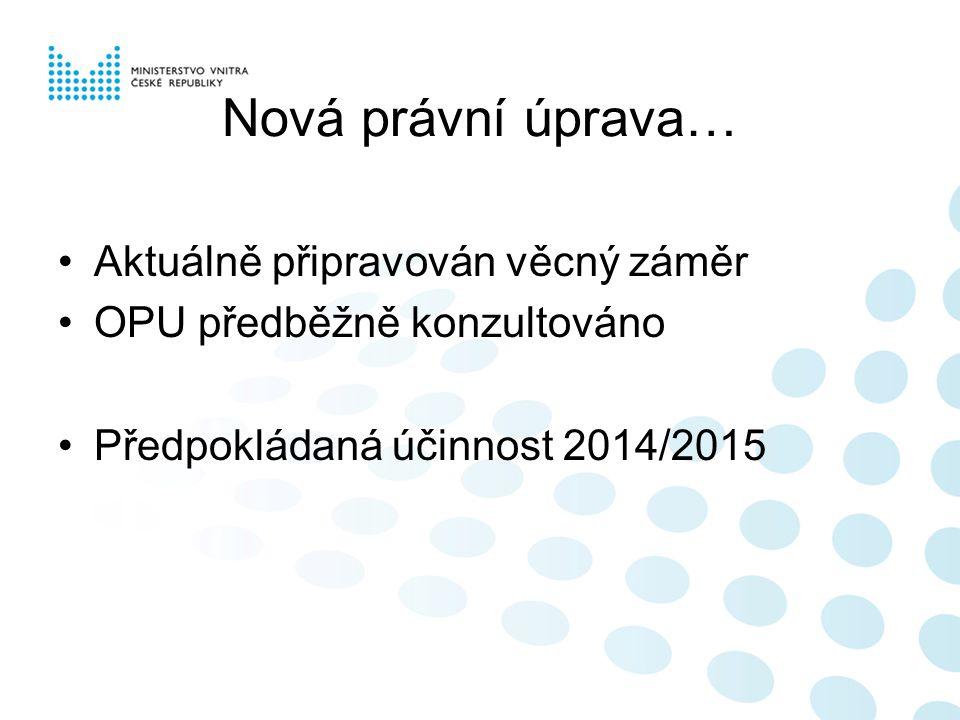 Nová právní úprava… •Aktuálně připravován věcný záměr •OPU předběžně konzultováno •Předpokládaná účinnost 2014/2015