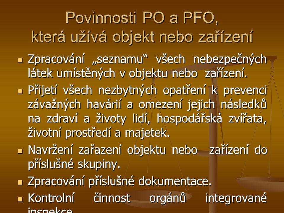 """Povinnosti PO a PFO, která užívá objekt nebo zařízení  Zpracování """"seznamu"""" všech nebezpečných látek umístěných v objektu nebo zařízení.  Přijetí vš"""