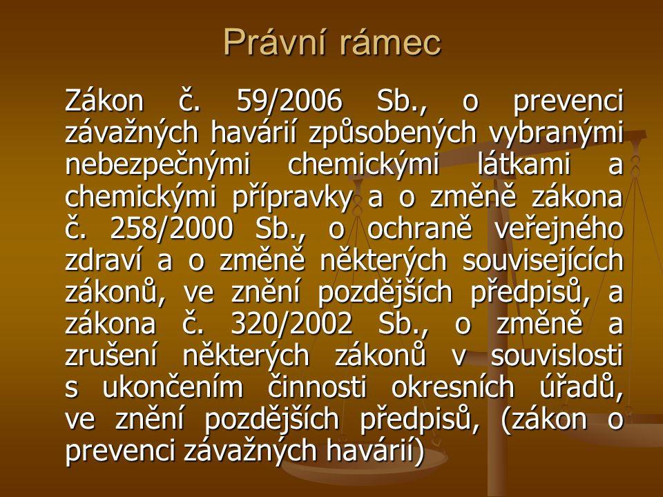 Právní rámec Zákon č. 59/2006 Sb., o prevenci závažných havárií způsobených vybranými nebezpečnými chemickými látkami a chemickými přípravky a o změně