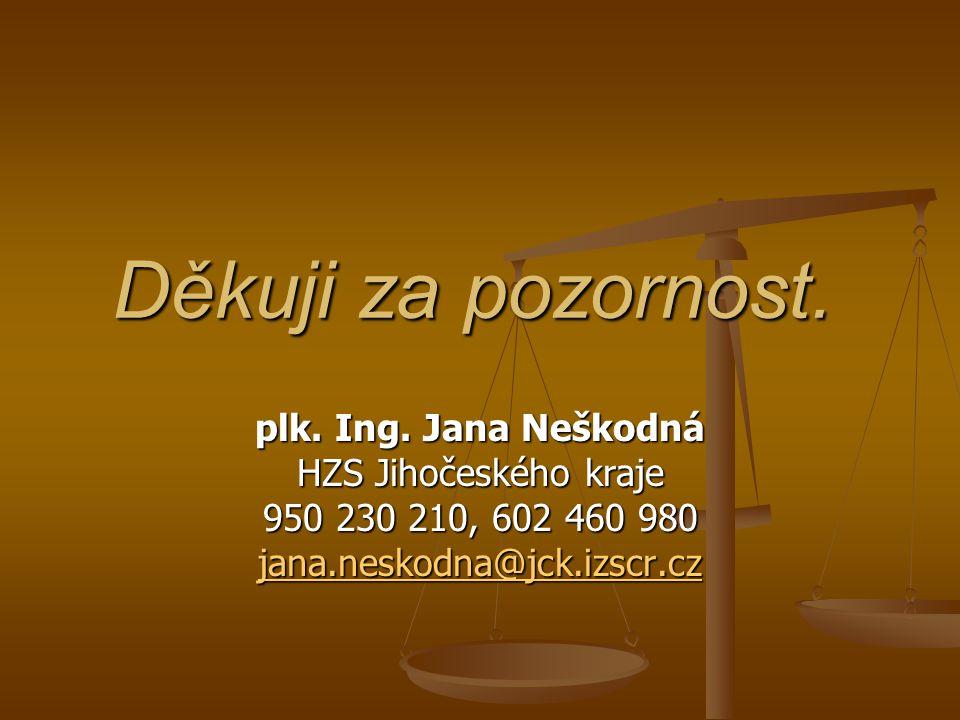 Děkuji za pozornost. plk. Ing. Jana Neškodná HZS Jihočeského kraje 950 230 210, 602 460 980 jana.neskodna@jck.izscr.cz jana.neskodna@jck.izscr.cz