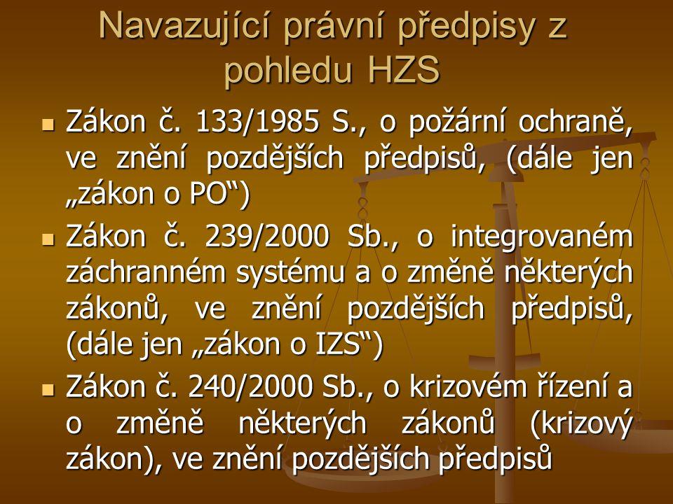 Navazující právní předpisy z pohledu HZS  Zákon č.