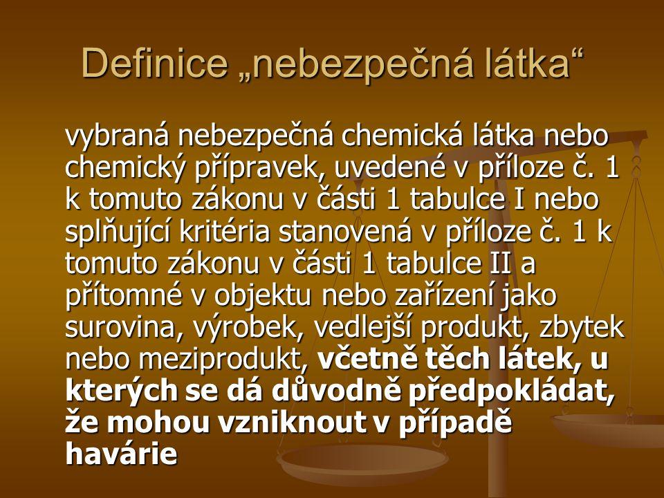 """Definice """"nebezpečná látka"""" vybraná nebezpečná chemická látka nebo chemický přípravek, uvedené v příloze č. 1 k tomuto zákonu v části 1 tabulce I nebo"""