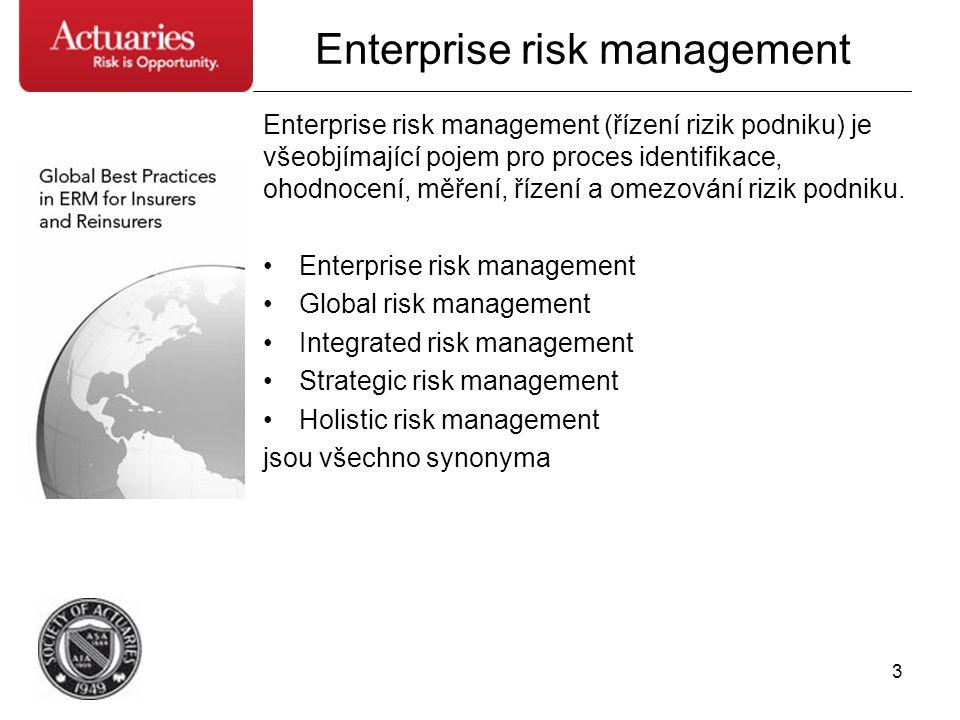 3 Enterprise risk management Enterprise risk management (řízení rizik podniku) je všeobjímající pojem pro proces identifikace, ohodnocení, měření, říz