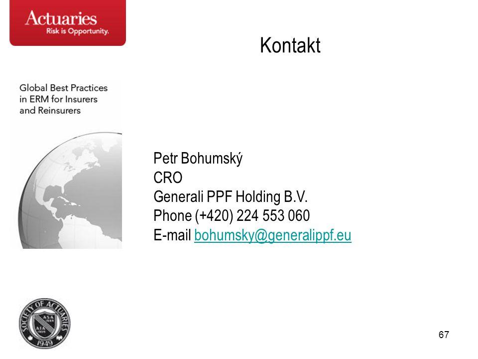 67 Kontakt Petr Bohumský CRO Generali PPF Holding B.V. Phone (+420) 224 553 060 E-mail bohumsky@generalippf.eubohumsky@generalippf.eu