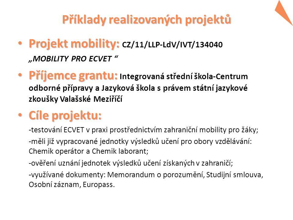 """Příklady realizovaných projektů Program Příklady realizovaných projektů 2014 -2020 • Projekt mobility: • Projekt mobility: CZ/11/LLP-LdV/IVT/134040 """"M"""