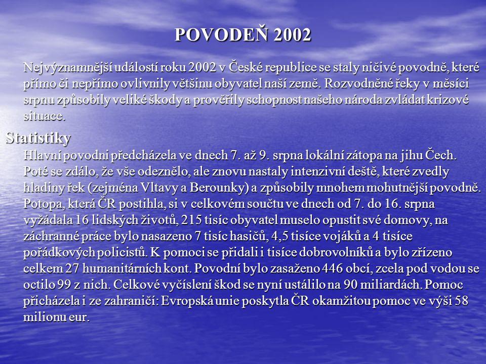 POVODEŇ 2002 Nejvýznamnější událostí roku 2002 v České republice se staly ničivé povodně, které přímo či nepřímo ovlivnily většinu obyvatel naší země.