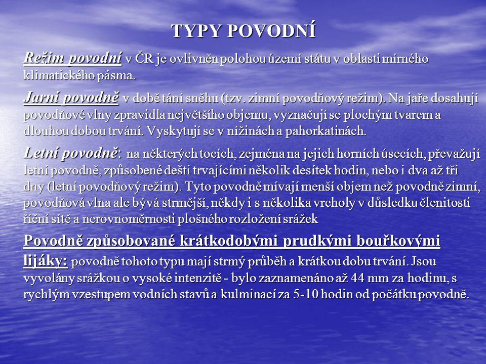 TYPY POVODNÍ Režim povodní v ČR je ovlivněn polohou území státu v oblasti mírného klimatického pásma. Jarní povodně v době tání sněhu (tzv. zimní povo