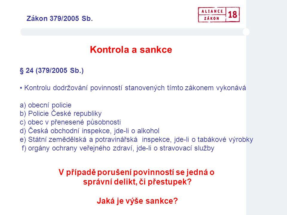Kontrola a sankce § 24 (379/2005 Sb.) • Kontrolu dodržování povinností stanovených tímto zákonem vykonává a) obecní policie b) Policie České republiky