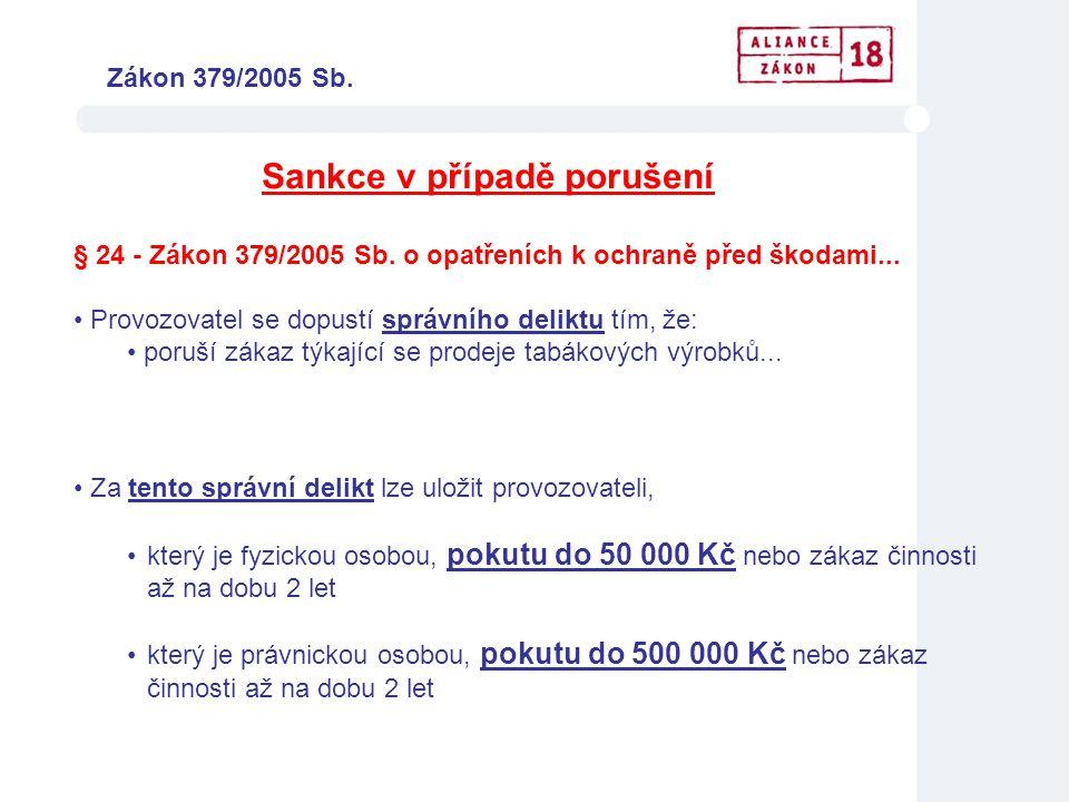 Sankce v případě porušení • Za tento správní delikt lze uložit provozovateli, •který je fyzickou osobou, pokutu do 50 000 Kč nebo zákaz činnosti až na