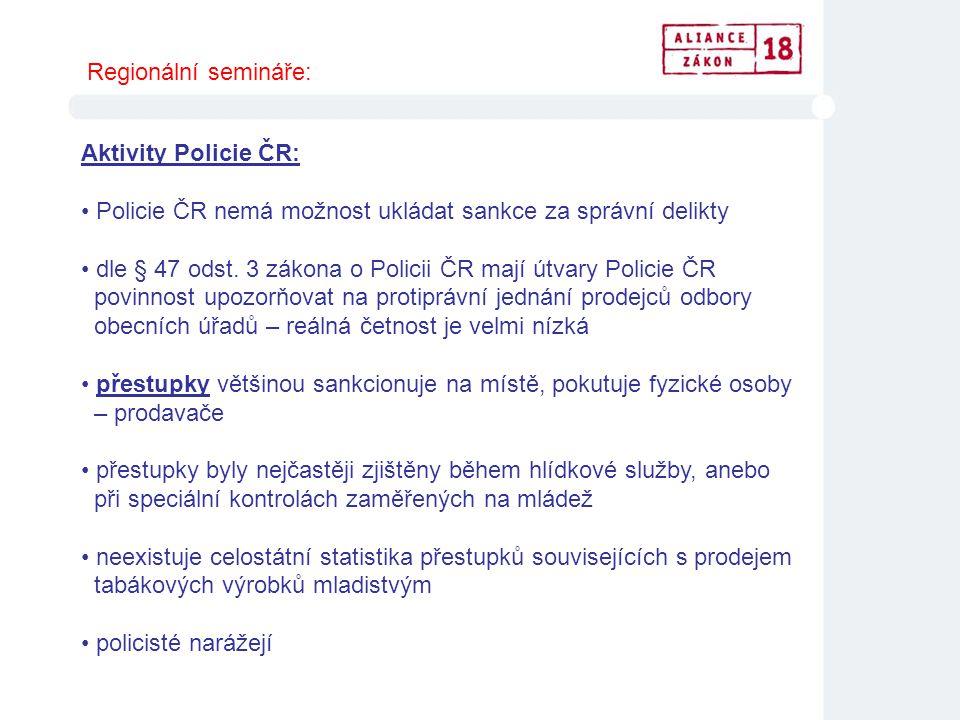 Aktivity Policie ČR: • Policie ČR nemá možnost ukládat sankce za správní delikty • dle § 47 odst. 3 zákona o Policii ČR mají útvary Policie ČR povinno
