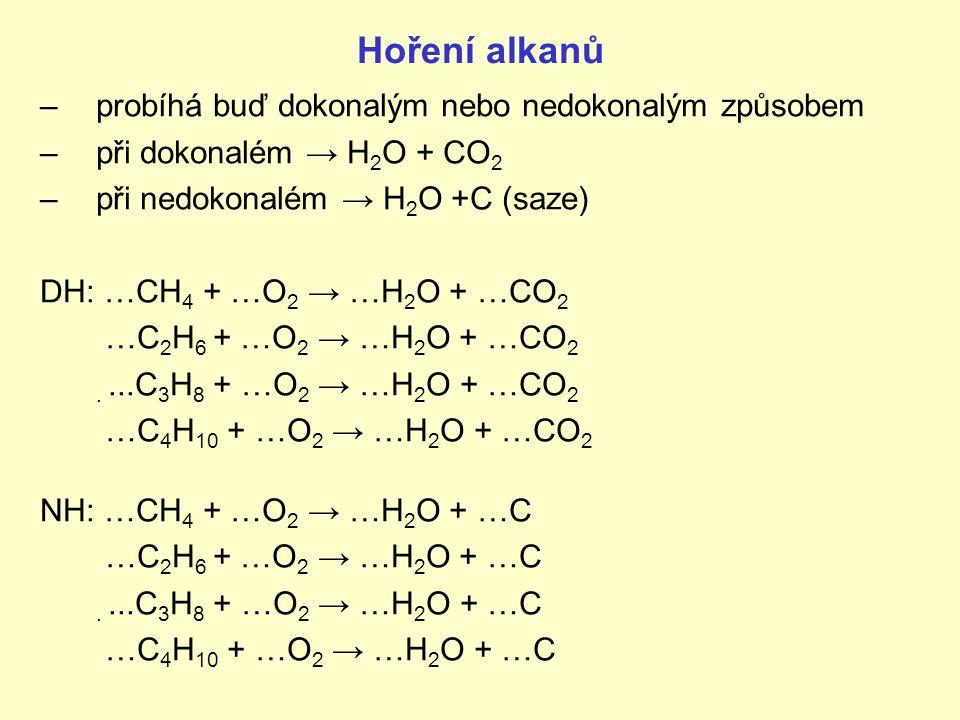 Hoření alkanů –probíhá buď dokonalým nebo nedokonalým způsobem –při dokonalém → H 2 O + CO 2 –při nedokonalém → H 2 O +C (saze) DH: …CH 4 + …O 2 → …H