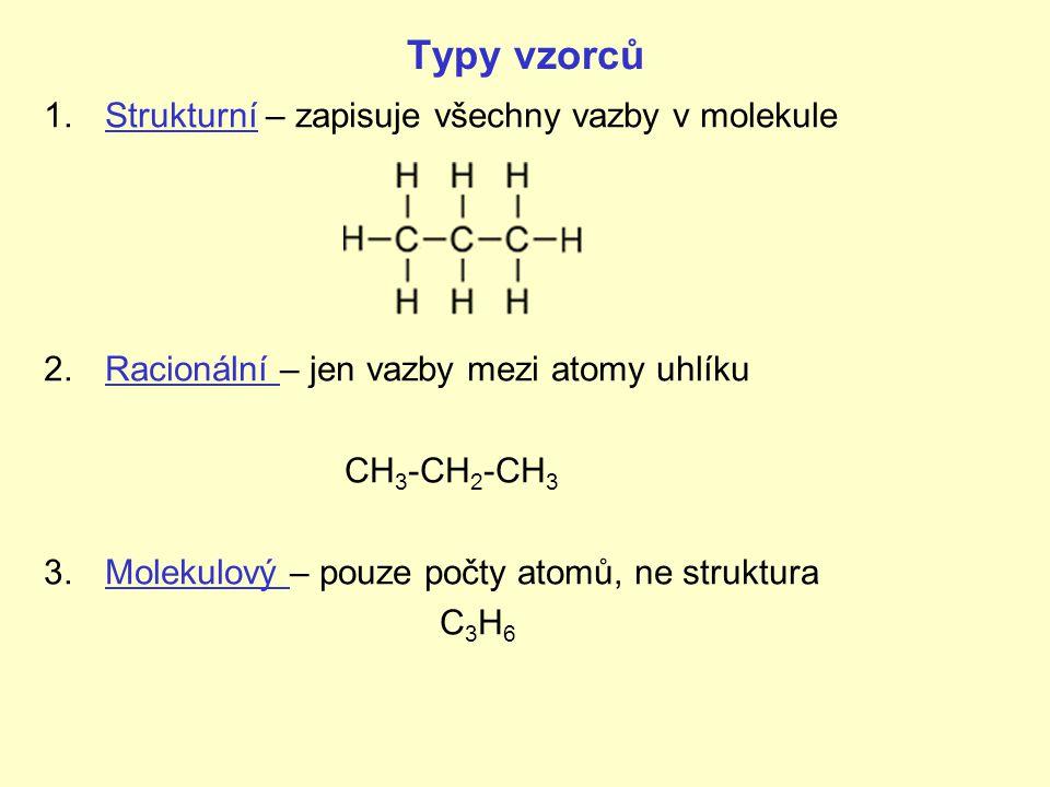 Typy vzorců 1.Strukturní – zapisuje všechny vazby v molekule 2.Racionální – jen vazby mezi atomy uhlíku CH 3 -CH 2 -CH 3 3.Molekulový – pouze počty at