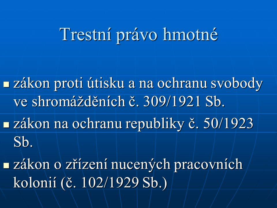 Trestní právo hmotné  zákon proti útisku a na ochranu svobody ve shromážděních č. 309/1921 Sb.  zákon na ochranu republiky č. 50/1923 Sb.  zákon o
