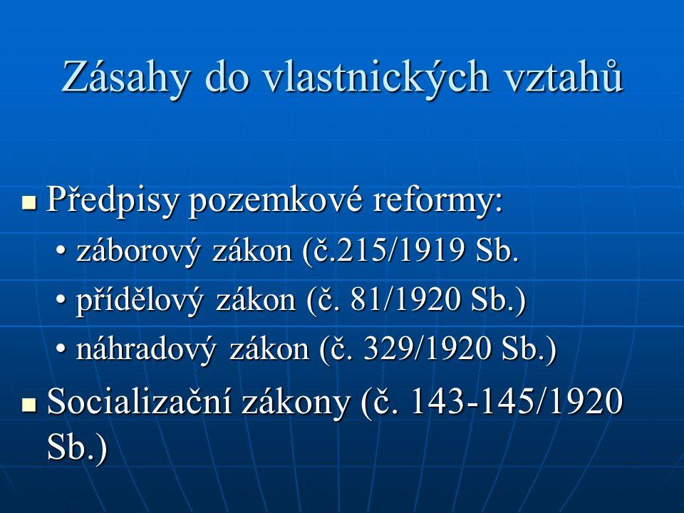 Zásahy do vlastnických vztahů  Předpisy pozemkové reformy: •záborový zákon (č.215/1919 Sb. •přídělový zákon (č. 81/1920 Sb.) •náhradový zákon (č. 329