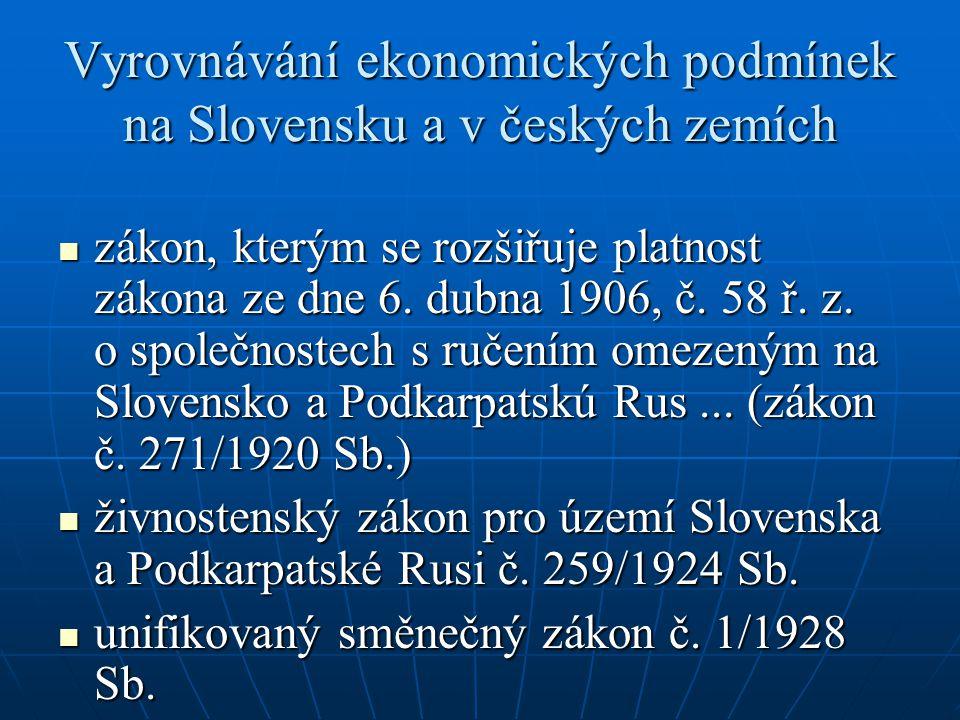 Vyrovnávání ekonomických podmínek na Slovensku a v českých zemích  zákon, kterým se rozšiřuje platnost zákona ze dne 6. dubna 1906, č. 58 ř. z. o spo