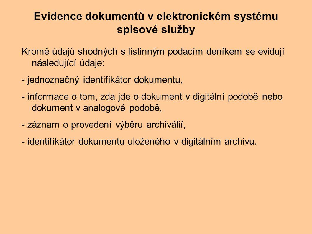 Kromě údajů shodných s listinným podacím deníkem se evidují následující údaje: - jednoznačný identifikátor dokumentu, - informace o tom, zda jde o dok