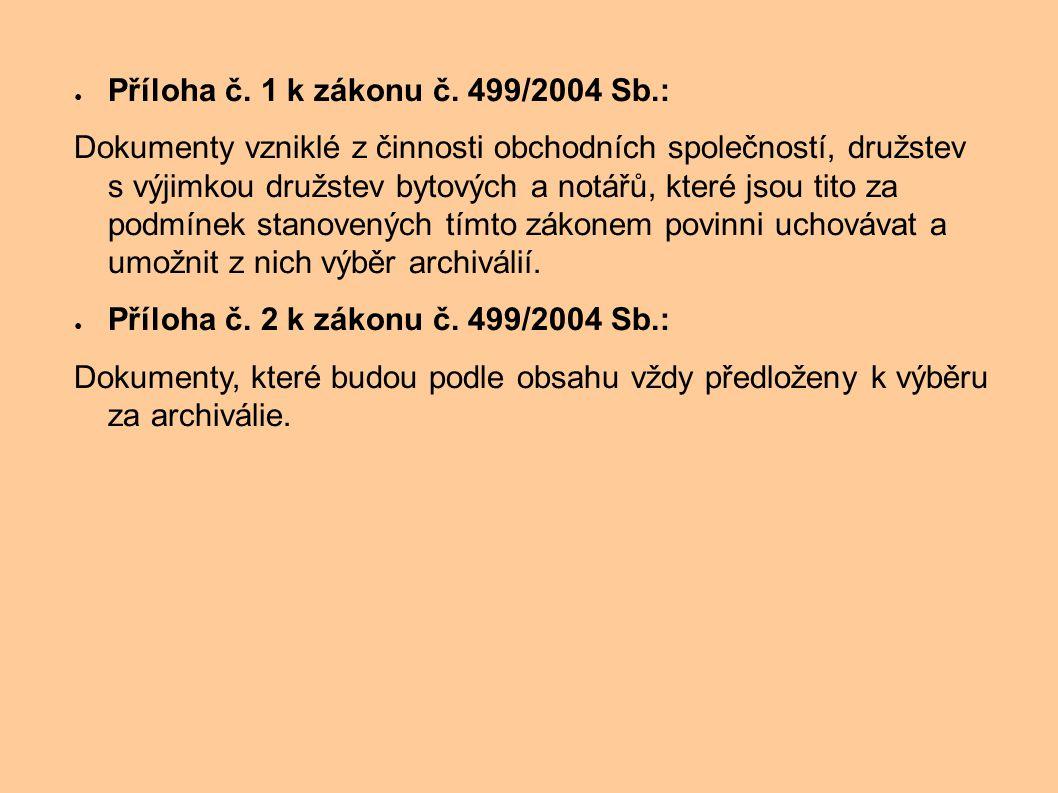 ● Příloha č. 1 k zákonu č. 499/2004 Sb.: Dokumenty vzniklé z činnosti obchodních společností, družstev s výjimkou družstev bytových a notářů, které js