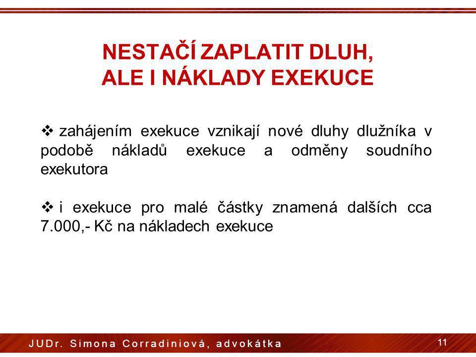 NESTAČÍ ZAPLATIT DLUH, ALE I NÁKLADY EXEKUCE  zahájením exekuce vznikají nové dluhy dlužníka v podobě nákladů exekuce a odměny soudního exekutora  i