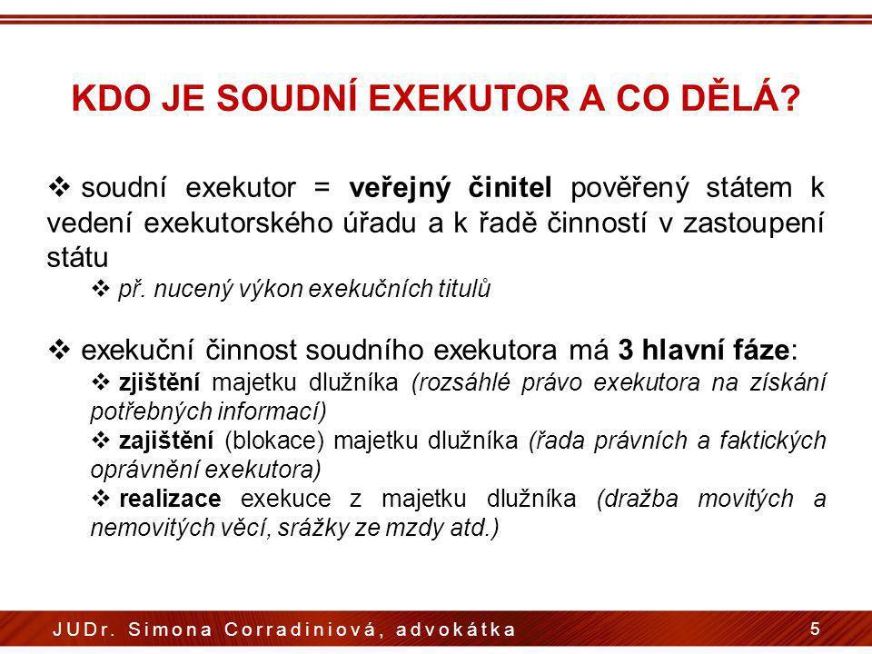KDO JE SOUDNÍ EXEKUTOR A CO DĚLÁ?  soudní exekutor = veřejný činitel pověřený státem k vedení exekutorského úřadu a k řadě činností v zastoupení stát